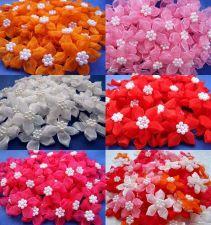 Buy 25 CUTE ORGANZA FLOWER PEARL APPLIQUES RIBBON BOWS EMBELLISHMENT CRAFT WEDDING