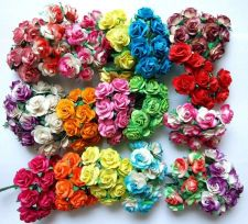 Buy 100 MIXED ARTIFICIAL MULBERRY PAPER ROSE FLOWER WEDDING SCRAPBOOK 2.0CM 10 COLOR
