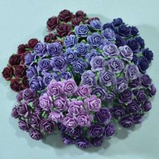 """Buy 100 MIXED MULBERRY PAPER ARTIFICIAL ROSE HEAD FLOWER PURPLE TONE 15 mm./ 0.6"""""""