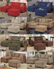Buy New 3 Pcs Microfiber Sectional Sofa in 8 Colors
