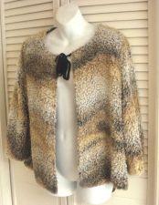 Buy Exclusively Misook XL Jacket Faux Fur Curly Top Tie Collar Closure RARE XL