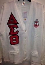 Buy Delta Sigma Theta White Cardigan with Shield and Greek Letters - Size Large