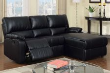 Buy Black Cream Sectional Sofa Furniture Leather Sectional Couch w/ one Recliner
