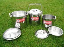 Buy 6 PIECES STAINLESS STEEL COOKING OUTDOOR CAMPING HANDLE POT BILLY CAN SPOON SET