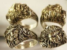 Buy LARGE LION Head Mens ring 2-tone Sterling Silver Ruby