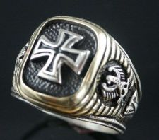 Buy Iron Cross,Eagle Signet ring 2-Tone....Sterling Silver,Lge