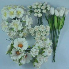 Buy 70 MIXED MULBERRY PAPER OFF WHITE ROSE ROSEBUD TULIP DAISY GARDENIA FLOWERS