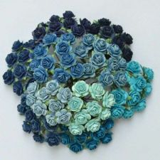 """Buy 100 MIXED MULBERRY PAPER ARTIFICIAL ROSE FLOWERS BLUE TONE 15mm/0.6"""" TREND 2014!"""