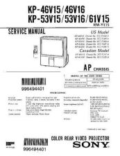 Buy Sony KP46V15 Service Manual by download Mauritron #332974