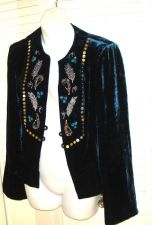Buy NANETTE LEPORE 10 Jacket Sapphire VELOUR VELVET Ruffle Hem Beads 10 Gorgeous