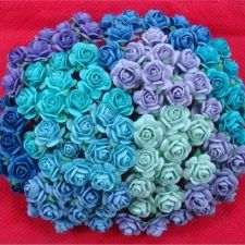 Buy 100 MIXED MINI MULBERRY PAPER ROSE FLOWERS BLUE PURPLE GREEN TONE COLOR 10 mm