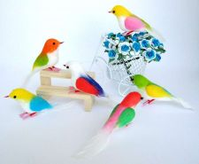 Buy 6 ARTIFICIAL BIRDS ORNAMENTS FOAM FLORAL CRAFTS DECORATIVE WEDDING MULTI COLOR