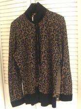 Buy Exclusively Misook L Jacket Top ANIMAL PRINT FULL ZIPPER Long Sleeve NWOT L