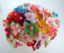Buy 100 MIXED PAPER FLOWER BLOSSOM ARTIFICIAL MULBERRY CRAFT DECORATION BS002PF