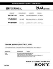 Buy Sony RA-6A Chassis Television Service Manual by download Mauritron #322240