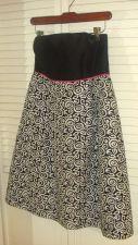 Buy MOLLY B Strapless Dress Sz 8 Black White Swirls Above Knee 100% Silk NWOT 8