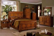 Buy Cambridge Antique Queen Bed 4 Pieces Traditional Style BEdroom Set FOA #CM7812