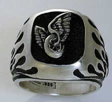 Buy Winged Wheel MC Flame ring Sterling Silver