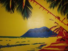 Buy Tropical Beach Painting on canvas ready to hang. finished off by hand. original
