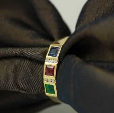 Buy FINE COLOMBIAN EMERALD+THAI RUBY+SAPPHIRE & DIAMOND 18K YELLOW GOLD BAND RING