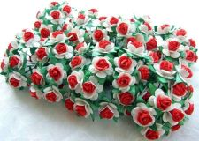 Buy 50 CUTE MULBERRY PAPER FLOWERS ROSE WHITE RED ARTIFICIAL CRAFT SCRAPBOOK 1.5 cm
