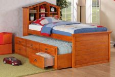 Buy Daybed Bedroom Furniture with Trundle Drawer Shelf storage head board #F9222