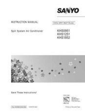 Buy Sanyo KHS1852 Air Conditioner Operating Guide by download Mauritron #330964