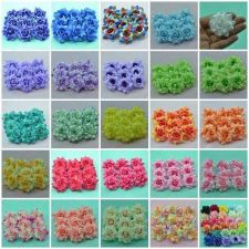 Buy 24 PCS VELVET ROSE HEAD ARTIFICIAL SILK FLOWER CRAFT WEDDING DIA. 4.5 cm./1.77""