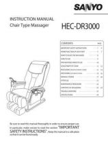 Buy Sanyo HEC-DR3000 Massage Chair Operating Guide by download Mauritron #315079