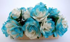 Buy 50 BLUE WHITE ARTIFICIAL MULBERRY PAPER BIG FLOWER WEDDING SCRAPBOOK DAI 2.5 CM