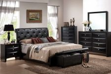 Buy Classically Designed 5Pcs Queen King Bed Room Furniture Set In BlackFaux Leather