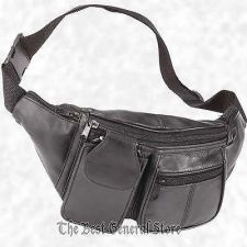 Buy Solid Lambskin Black Leather Fanny Pack Belt Waist Tummy Bag Cell Phone Holder