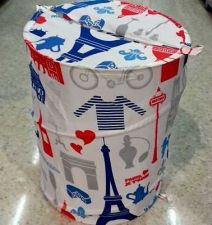 Buy SHOWER CURTAIN FABRIC& LAUNDRY BASKET POP UP SET PARIS EIFFEL MODERN WATER PROOF