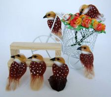 Buy CUTE TINY BIRDS BROWN ARTIFICIAL MINI CRAFT DIY DECORATIVE FLORAL DOLLHOUSE NEW