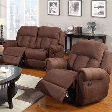 Buy Sofas & Loveseats 3 Pc Living room Set Full Microfiber Reclining Sofa Loveseat