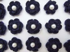 Buy 20 NAVY BLUE CROCHET FLOWER PEARL APPLIQUES ARTIFICIAL SEWING CRAFT HANDMADE NEW