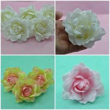 Buy 6, 25 VELVET GARDENIA ROSE HEAD ARTIFICIAL SILK FLOWER FOR HAIR CLIP 9 cm/ 3.5""