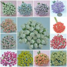 "Buy 50 PCS MULBERRY PAPER MINI ROSEBUD HIP FLOWER CRAFT 9 mm or 3/8"" MANY COLOR"