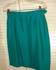 Buy YSL Yves Saint Laurent Rive Gauche Silk Skirt 42 8, TEAL Satin, Pockets VTG 8