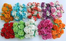 Buy 100 ARTIFICIAL MULBERRY PAPER ROSE MIXED FLOWER WEDDING CRAFT SCRAPBOOK 2 CM.