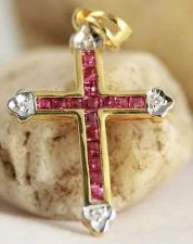 Buy NEW VINTAGE FINE RARE GENUINE THAI RUBY 18K YELLOW GOLD & DIAMOND CROSS PENDANT