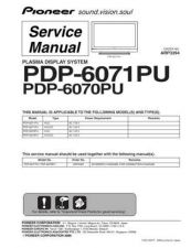 Buy Panasonic PDP-6071PU-6070PU Manual by download Mauritron #301179