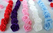 Buy 100 SATIN RIBBON ROSE BOWS 1 MM. MIXED APPLIQUES EMBELLISHMENT CRAFT FLOWER CUTE