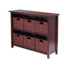 Buy Wicker Rattan Cabinet Storage Baskets Drawer Antique File Tier Walnut Shelf Lamp