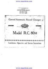 Buy GARRARD. RC80M Manual by download Mauritron #325565