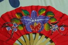 Buy THAI Northern Live Style PRINTED CLOTH FOLDING WOOD HAND FAN Handcraft Vintage