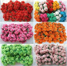 Buy 100 MULBERRY PAPER ROSE FLOWER ARTIFICIAL WEDDING MINI CRAFT SCRAPBOOK 2 CM. NEW