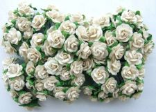 Buy 100 WHITE MULBERRY PAPER MINI ROSE FLOWER ARTIFICIAL CRAFT SCRAPBOOK DAI 1.5 cm