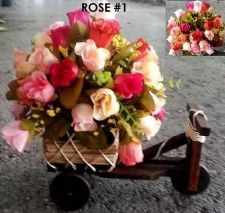 Buy Rose flower silk Artificial Bike Basket