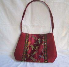 Buy Handbag Shoulder Bag Red Silk Purse Dragonfly Embroider & Ribbon Bali Souvenir